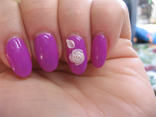 Cool Pink color Flower With Magenta Color 3D Rose Flower Nail Art