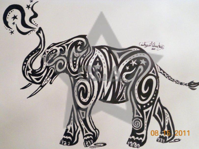 Cool Tribal Elephant Tattoo For Boys