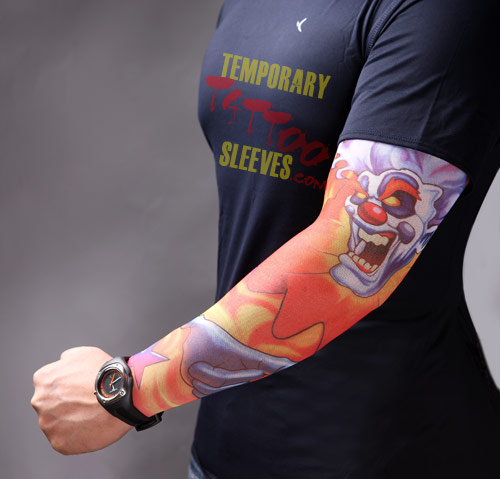 Coolest Clown Of Fire Tattoo On Sleeve For Boys
