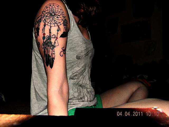 Coolest Dream Catcher Tattoo On Upper Arm For Girls