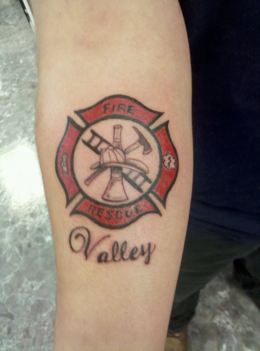 Coolest Fire Rescue Tattoo Design Girls