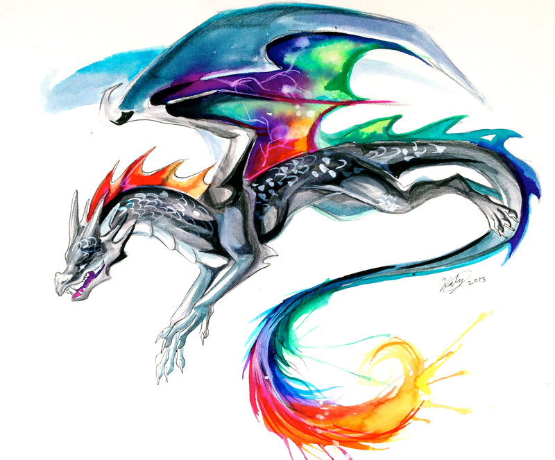 Coolest Tie Dye Dragon Tattoo For Boys