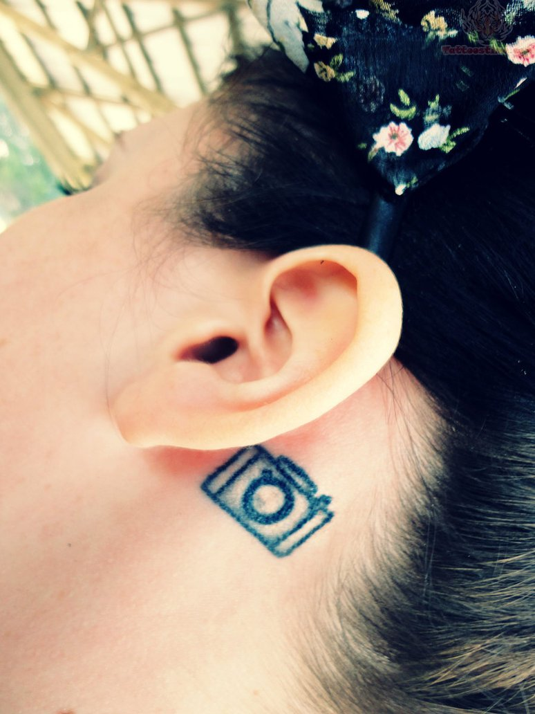Crazy Camera Tattoo Behind Ear For Girls