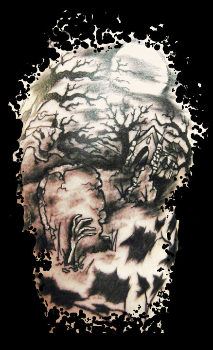 Crazy Dark Graveyard Tattoo Design For Boys