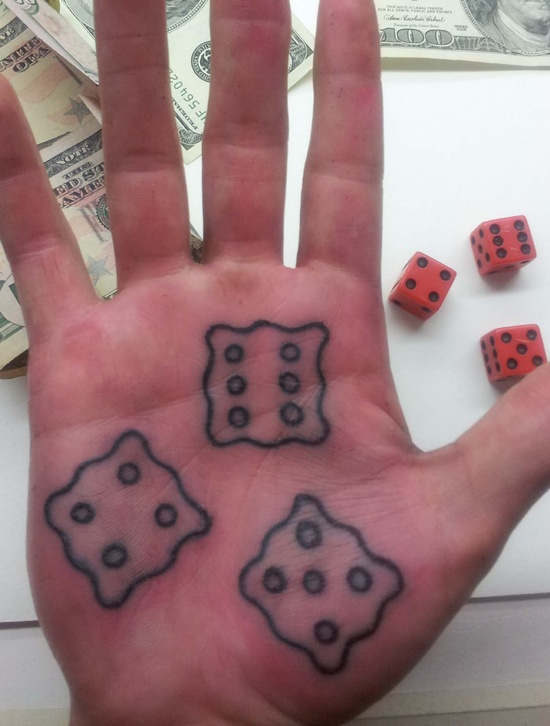 Crazy Dice Tattoo Design On Palm For Girls