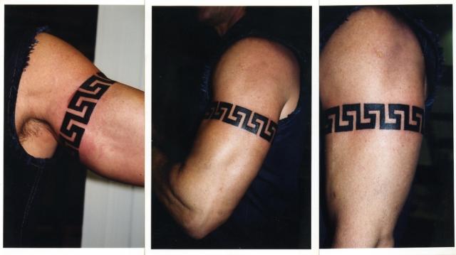Crazy Greek Key Armband Tattoo Design For Boys