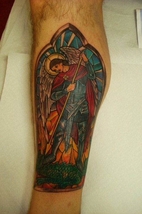 Crazy Michael Stained Glass Tattoo For Boys
