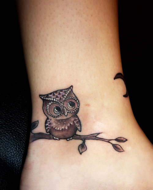 Crazy Owl Heel Tattoo For Girls