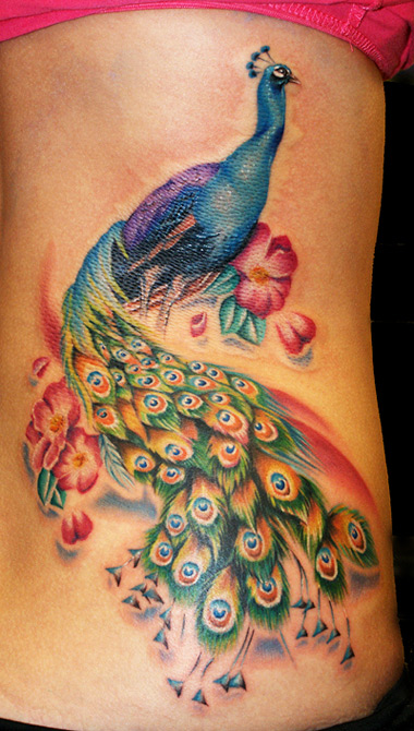 Crazy Peacock Feminine Tattoo Design For Girls