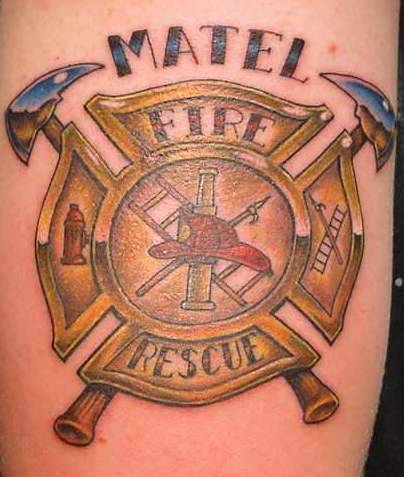 Creative Fire Rescue Badge Tattoo For Girls