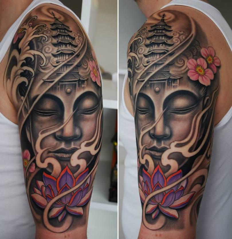 Creative Half Sleeve Buddhist Tattoo Image For Boys