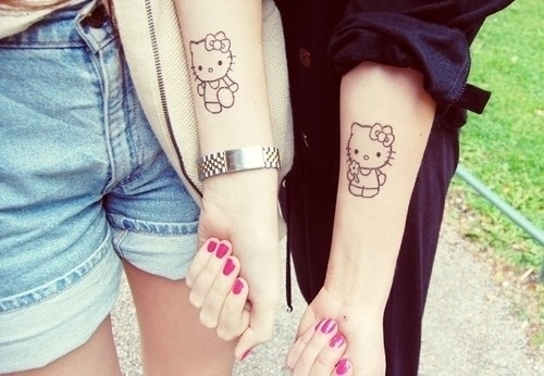 Creative Hello Kitty Friendship Tattoo For Friends