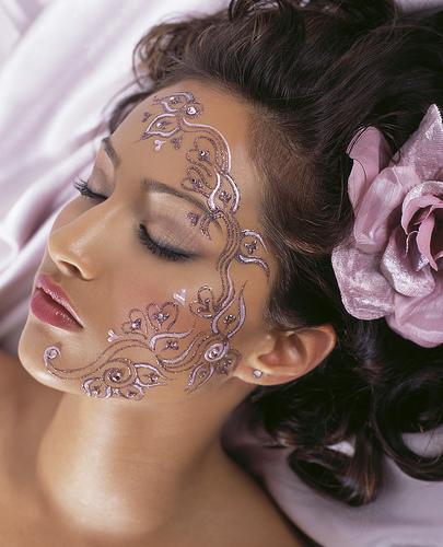 Creative Henna Tattoo On Face For Women