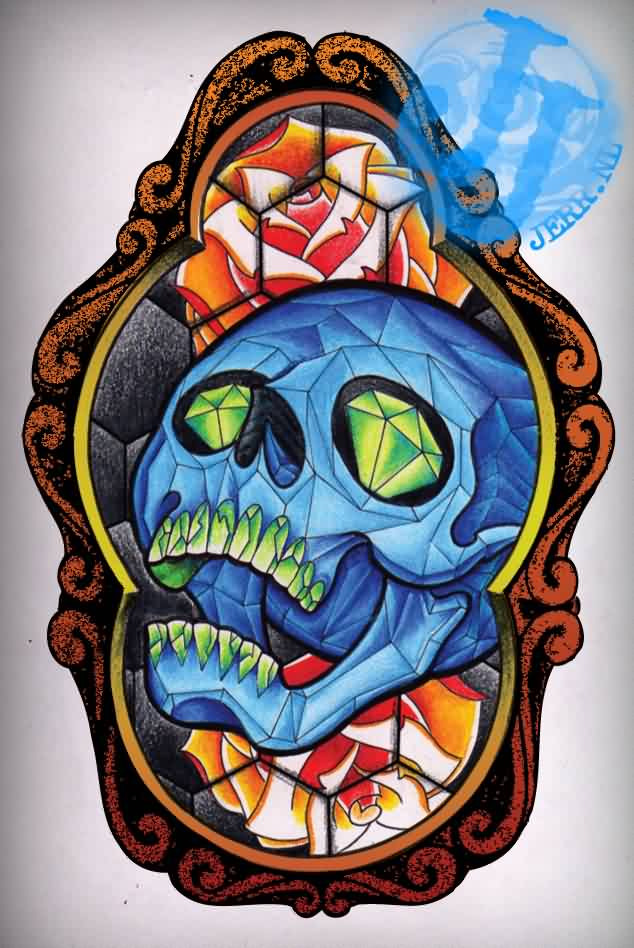 Creative Stained Glass And Blue Skull Tattoo Design For Tattoo Fans