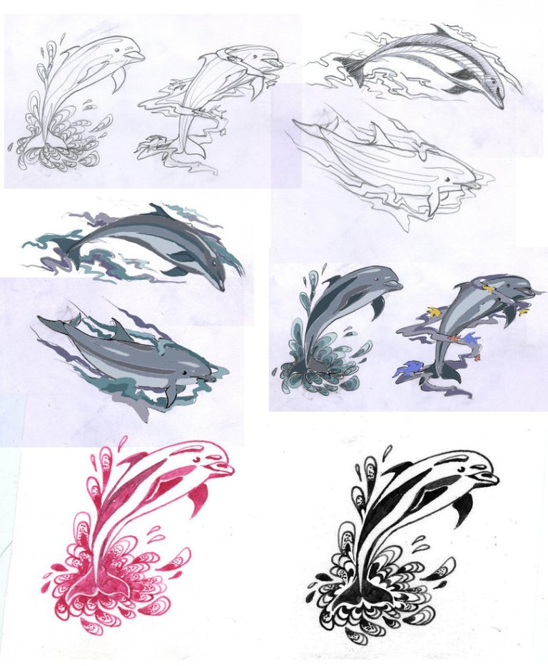 Custom Dolphin Tattoo Sketches For Boys