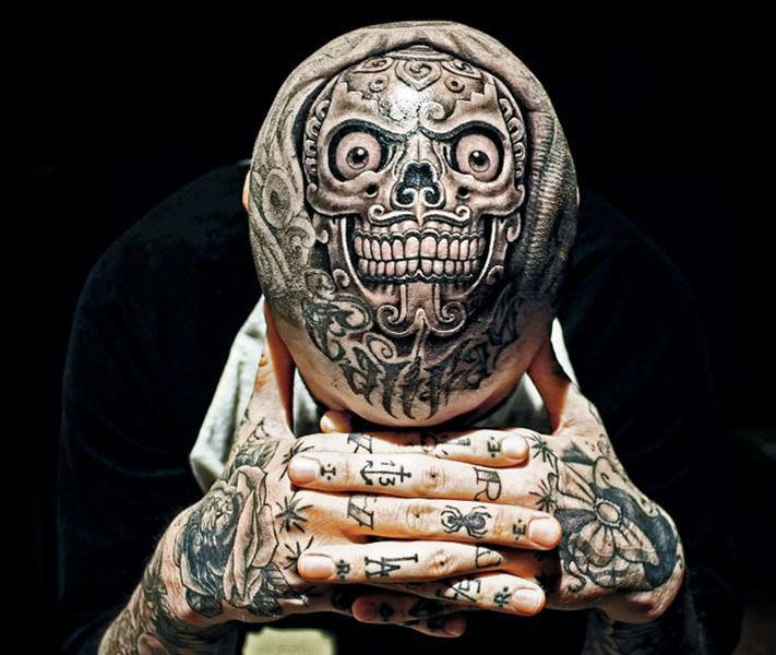 Custom Extreme Skull Tattoo On Head For Boys