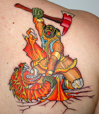 Custom Firefighter Vs Dragon Tattoo On Back Of Shoulder For Boys