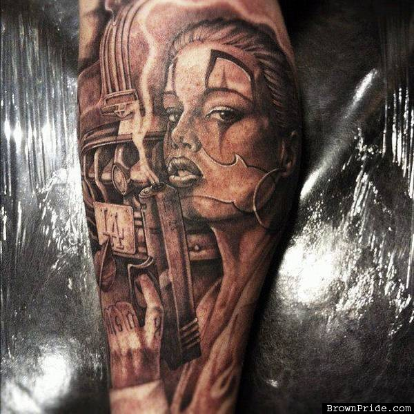 Custom Gangsta Clown Girl Tattoo Design For Boys