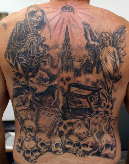 Custom Grim Reaper Angel Graveyard Tattoo On Back Body For Boys