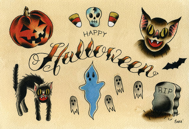 Custom Happy Halloween Tattoo Designs For Boys