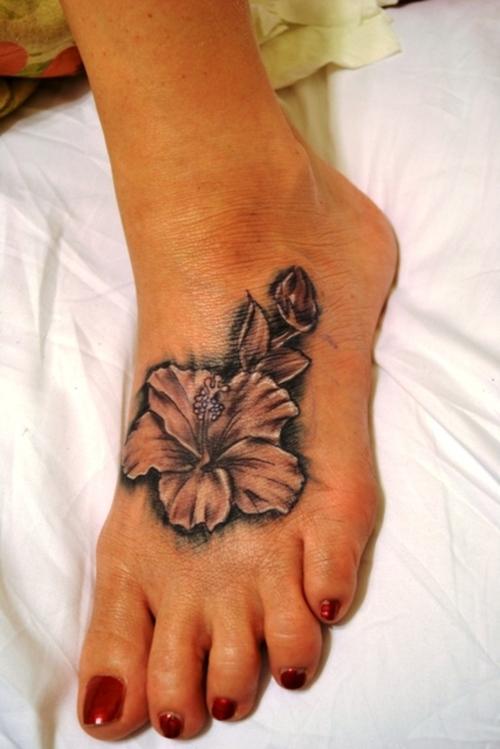 Custom Hibiscus Foot Tattoo Design For Women