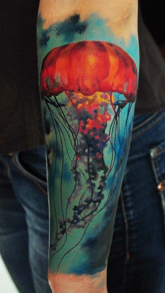 Custom Jelly Fish Tattoo On Arm For Girls