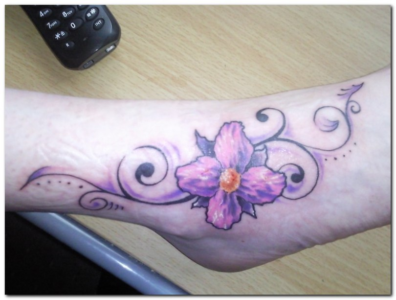 Custom Orchid Flower Tattoo Designs On Foot For Girls