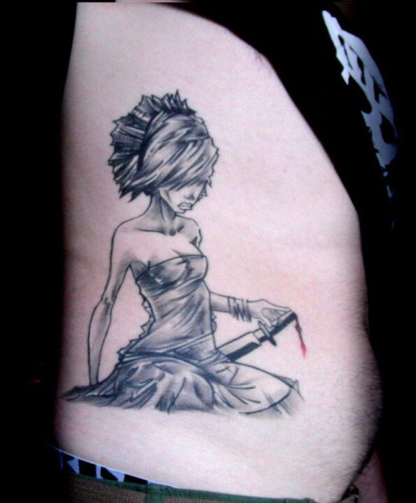 Custom Samurai Girl Tattoo Design For Boys
