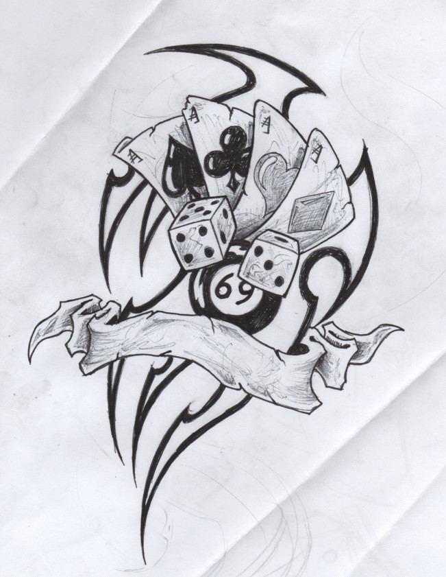 custom tribal gambling tattoo drawing for boys - Drawing For Boys