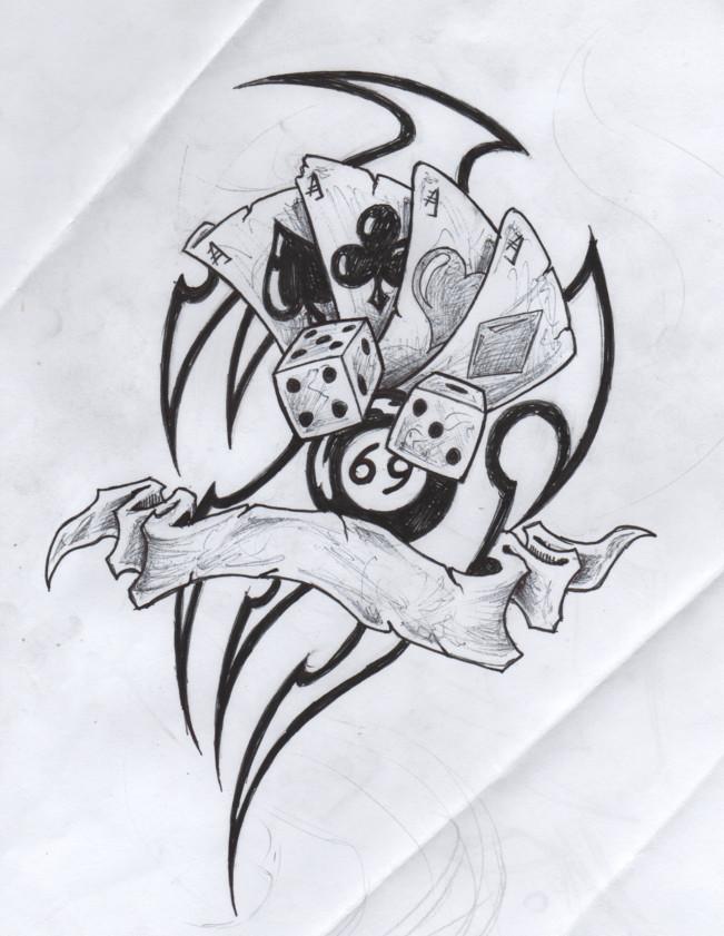 Custom Tribal Gambling Tattoo Drawing For Boys