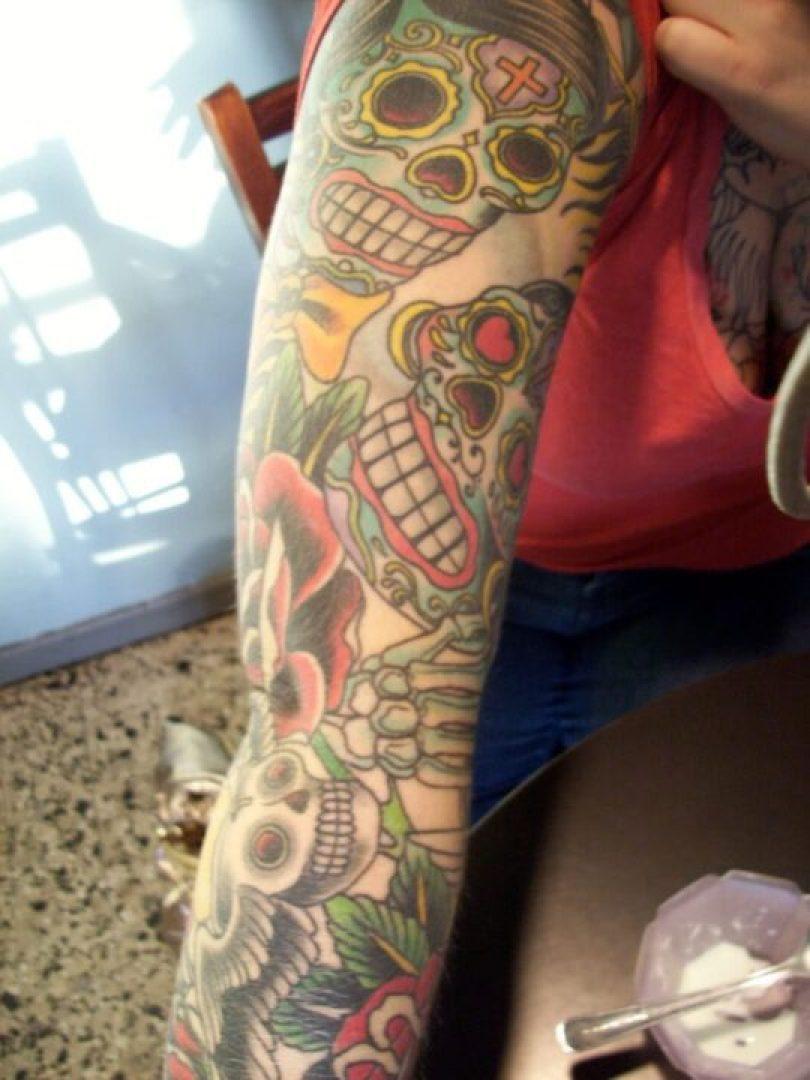 Cute Dia De Los Muertos Skull Tattoo On Sleeve For Girls