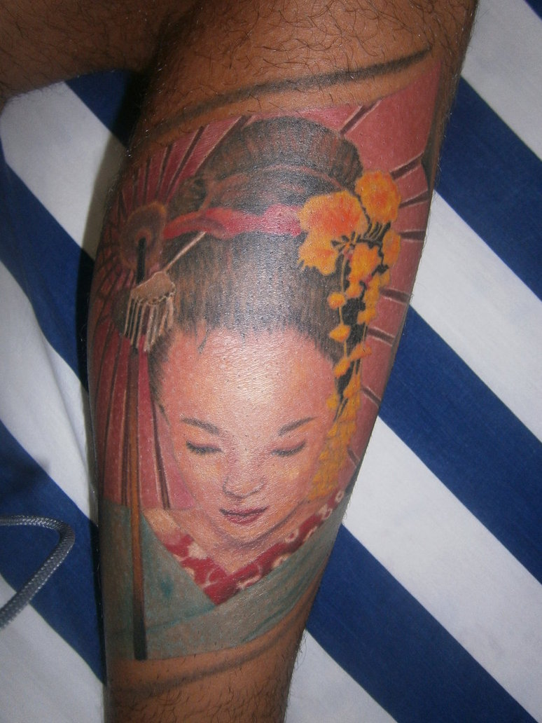 Cute Eyes Geisha Tattoo Design For Boys