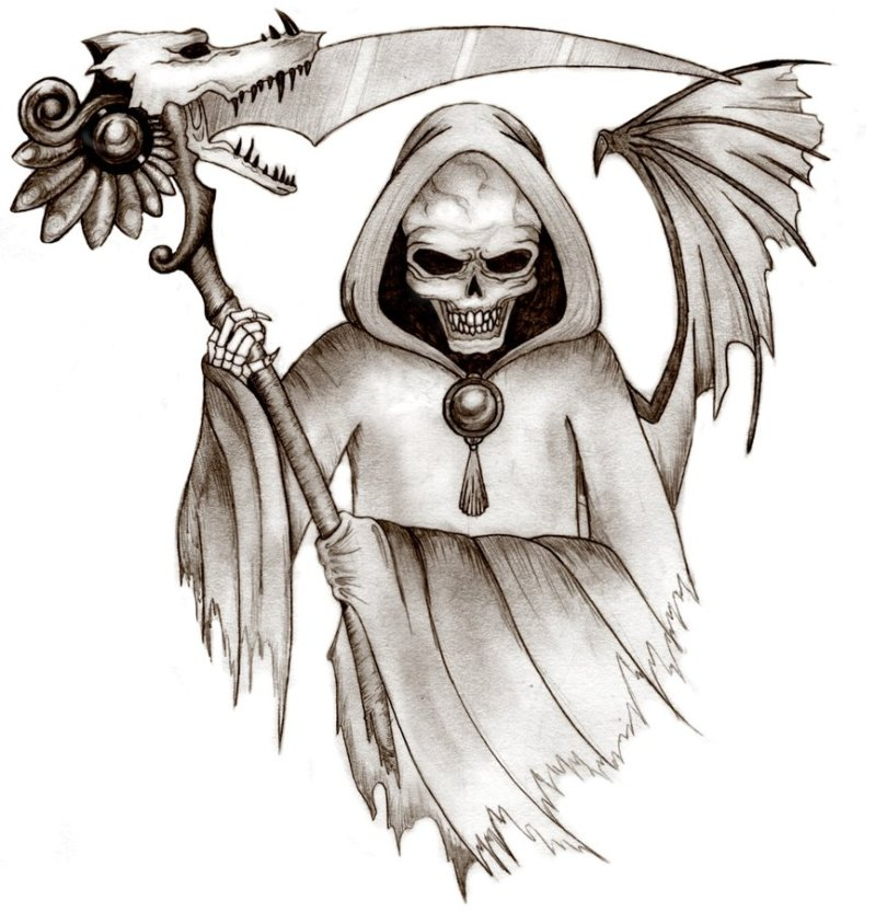 Cute Grim Reaper Tattoo Design For Boys