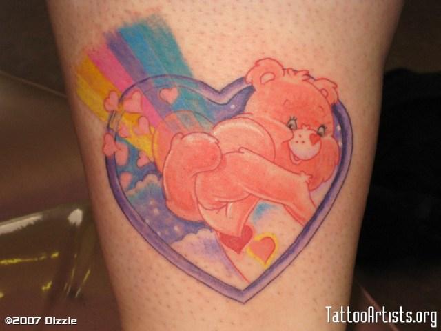 Cute Heart Care Bear Tattoo Design For Boys