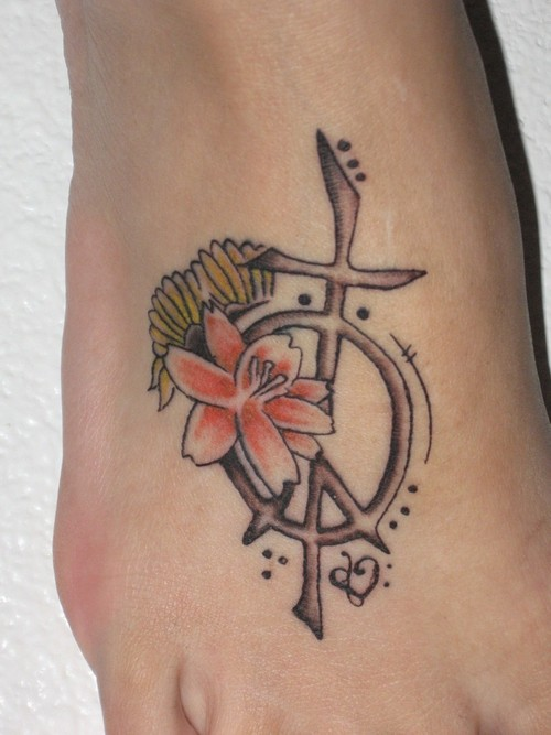 Cute Hippie Peace Sign Tattoo On Foot (2) For Boys
