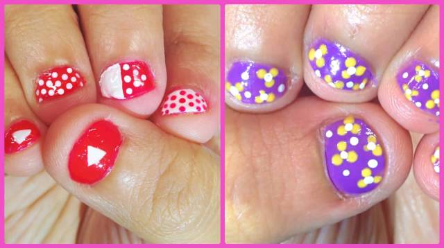 Cutest 2 Colors 1 Design Acrylic Short Nail Design