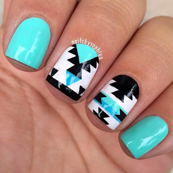 Cutest Blue Nail Art With Black And White Design