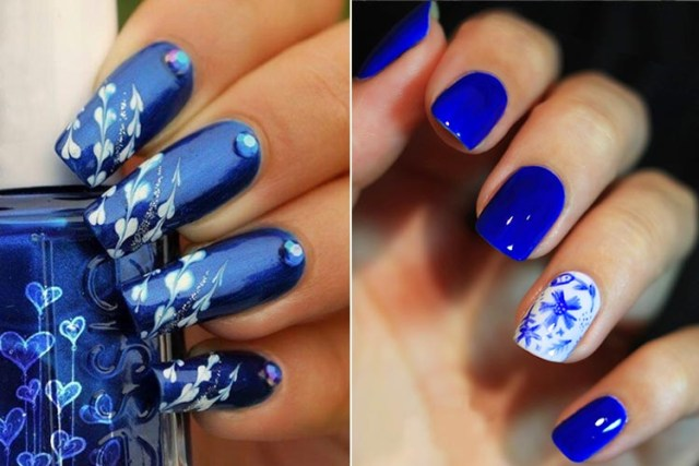 Cutest Blue Nail Art With Flower Design