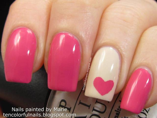 Cutest Heart Shape Design Paint Accent Nail Design