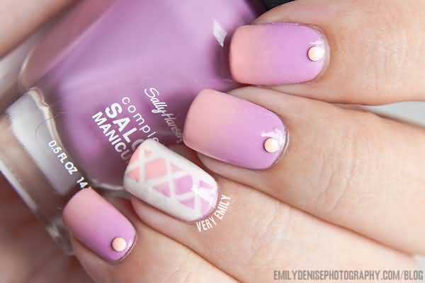 Cutest Purple Color Design With Dot Accent Nail Design