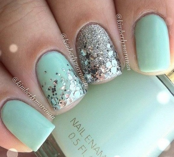 Cutest Sky Blue Color Glitter Accent Nail Art