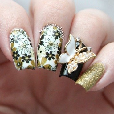 Dark Brown Color Flower With White Flower 3D Butterflies Nail Art
