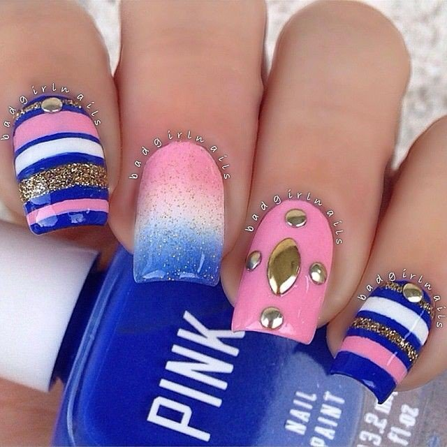 Dashing Blue Nail Art With Colorful Design