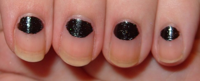 Dashing Black Half Moon Nail With Naked Nails