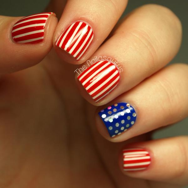 Dashing Blue And Red Stripes And Dotted Design Accent Nail Design