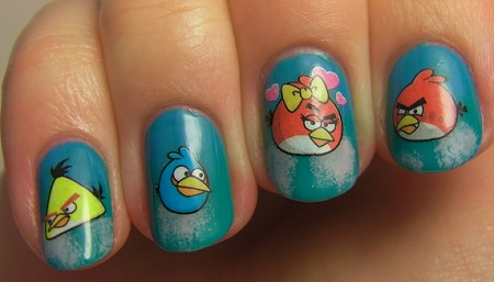 Dashing Blue Color With Angry Bird Nail Art Design