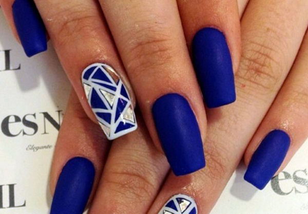 Dashing Blue Nail With Broken Design