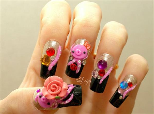 Dashing Pig With Great Pink Flower And Black Nail Tip 3D Nail Art