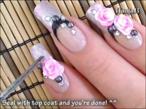 Dashing Pink Color Paint 3D Rose Flower Nail Art