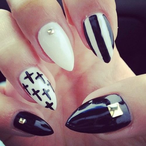 Dashing Stiletto Nails With Cross Design